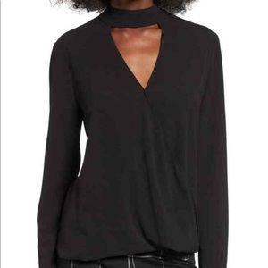 Black, long sleeve blouse with choker neck wrap
